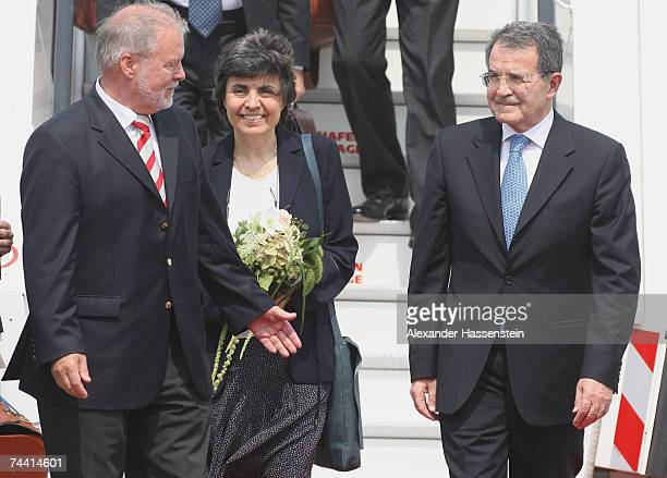 Italian Premier Romano Prodi and his wife Flavia Franzoni Prodi is welcomed by MecklenburgWestern Pomerania's State Premier Harald Ringstorff at the...