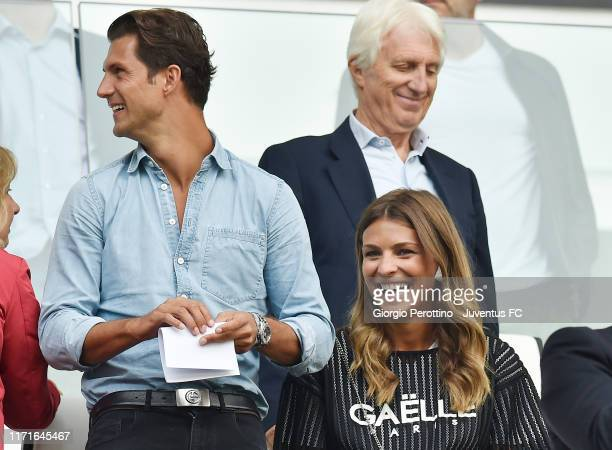 Italian presenter and model Cristina Chiabotto with her husband Marco Roscio during the Serie A match between Juventus and SPAL at Allianz Stadium on...
