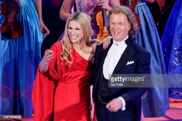 Italian presenter Michelle Hunziker and Andre Rieu during the annual tv show 'Das Adventsfest der 100000 Lichter' on December 1 2018 in Suhl Germany