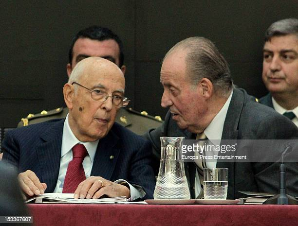 Italian President Giorgio Napolitano and King Juan Carlos of Spainattend COTEC Europa Meeting at Palacio El Pardo on October 3 2012 in Madrid Spain