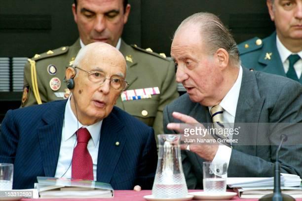 Italian President Giorgio Napolitano and King Juan Carlos of Spain attend COTEC Europa Meeting 2012 at Royal Palace of El Pardo on October 3 2012 in...