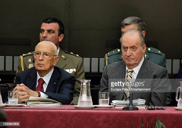 Italian President Giorgio Napolitano and King Juan Carlos of Spain attend COTEC Europa Meeting at Palacio El Pardo on October 3 2012 in Madrid Spain
