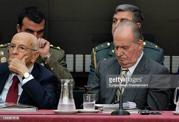 Italian President Giorgio Napolitano and King Juan Carlos of Spain attend the COTEC Europa Meeting at Palacio El Pardo on October 3 2012 in Madrid...