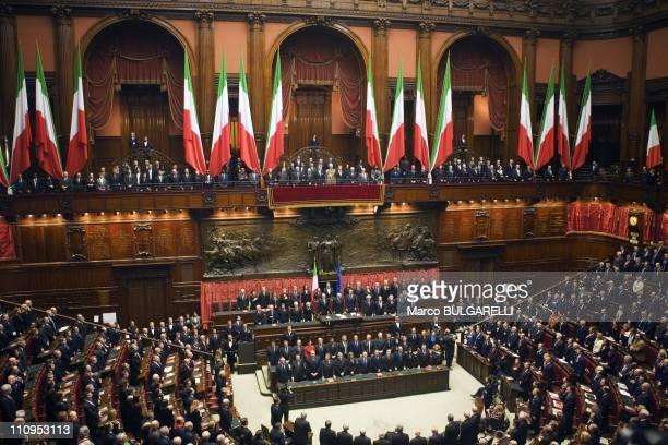 Italian President Giorgio Napolitano and parliament sing 'Inno di Mameli' to mark the 150th Anniversary of Italy Unification at the Montecitorio...