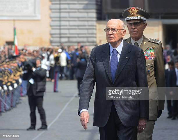 Italian President Giorgio Napolitano arrives at a ceremony in Rome