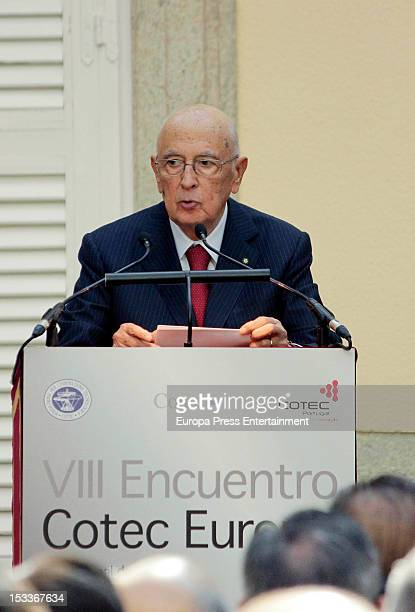 Italian President Giorgio Napolitano attends COTEC Europa Meeting at Palacio El Pardo on October 3 2012 in Madrid Spain