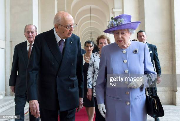 Italian President Giorgio Napolitano greets Her Majesty Queen Elizabeth II in at 'Palazzo del Quirinale' during her oneday visit to Rome on April 3...