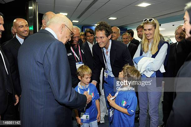 Italian President Giorgio Napolitano John Elkann chairman of Fiat Spa Lavinia Borromeo and sons Oceano and Leone at Casa Italia in The Queen...