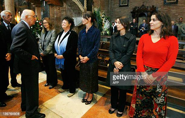 Italian President Giorgio Napolitano pays his homage to Italian tenor Luciano Pavarotti' widow Nicoletta Mantovani his sister Gabriella and his...
