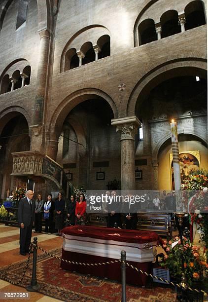 Italian President Giorgio Napolitano pays his homage to late tenor Luciano Pavarotti in Modena's Duomo where he lays in state September 7 2007 in...