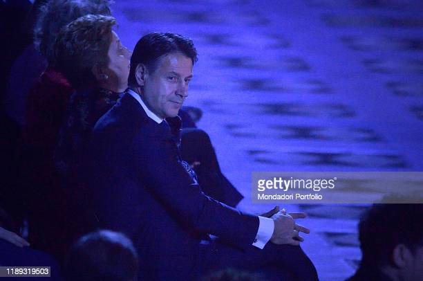 Italian President of the Council Giuseppe Conteduring An evening of stars for the Infant Jesus TV show at the Paul VI Hall in the Vatican Vatican...