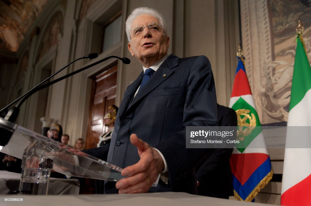 Italian President Sergio Mattarella addresses journalists in the second day of consultations with political parties for the formation of the new Government at the Quirinale palace on April 5, 2018 in Rome, Italy.