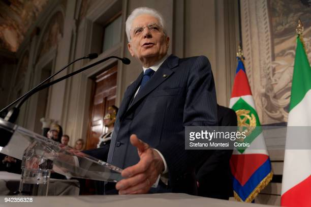 Italian President Sergio Mattarella addresses journalists in the second day of consultations with political parties for the formation of the new...