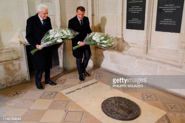 Italian President Sergio Mattarella and French President Emmanuel Macron lay flowers on the tomb of Italian renaissance painter and scientist...
