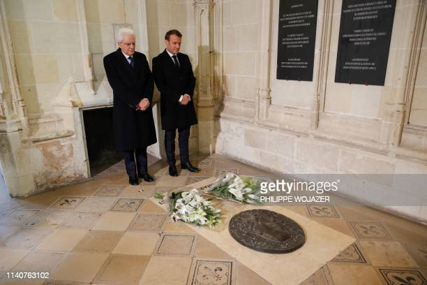 Italian President Sergio Mattarella and French President Emmanuel Macron pay their respects at the tomb of Italian renaissance painter and scientist...