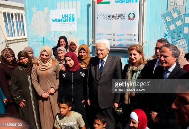 Italian President Sergio Mattarella and his daughter Laura Mattarella pose for a picture during a visit to a craft workshop organized by UN Women at...