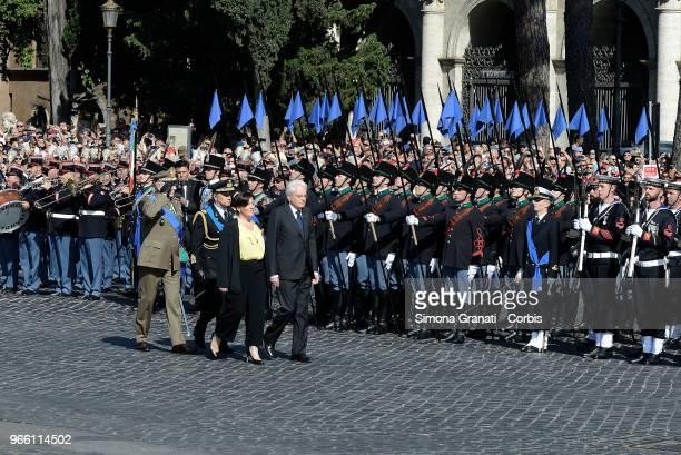 Italian President Sergio Mattarella and Italy's Defence Minister Elisabetta Trenta attend the ceremony for the anniversary of the Italian Republic on...