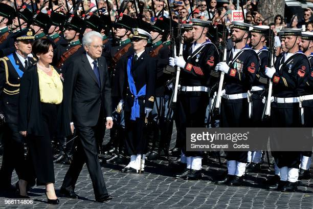 Italian President Sergio Mattarella and Italy's Defence Minister Elisabetta Trenta attend the ceremony for the anniversary of the Italian Republic on...