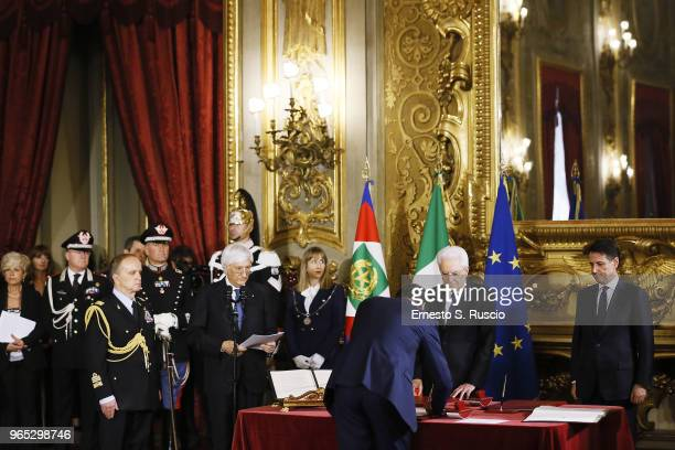 Italian President Sergio Mattarella and Italy's Prime Minister Giuseppe Conte R0 attend the swearing in ceremony of the new government led by Prime...
