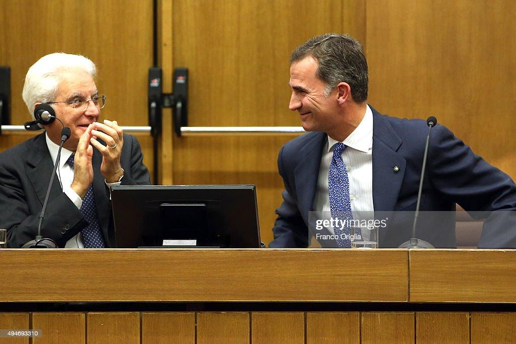Italian President Sergio Mattarella (L) and King Felipe VI of Spain attend the 10th COTEC Symposium meeting at the Consiglio Nazionale delle Ricerche on October 28, 2015 in Rome, Italy.