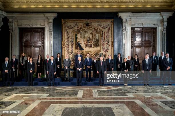 Italian President Sergio Mattarella and Members of the new government led by Prime Minister Mario Draghi pose for a picture after the swearing-in...