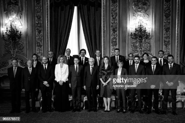 Italian President Sergio Mattarella and Members of the new government led by Prime Minister Giuseppe Conte pose for a picture after the swearingin...