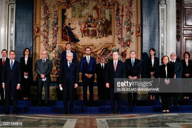 Italian President Sergio Mattarella and Prime Minister Mario Draghi pose for a group photo with Italy's new Cabinet Ministers Italy's Minister for...