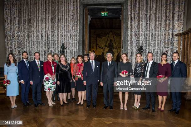 Italian president Sergio Mattarella and the Swedish royal family pose for a picture during a visit Stockholm City Hall for a lunch in connection with...