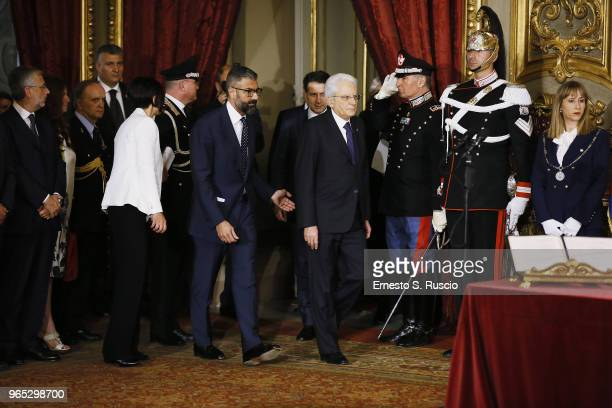 Italian President Sergio Mattarella attends the swearing in ceremony of the new government led by Prime Minister Giuseppe Conte at Palazzo del...