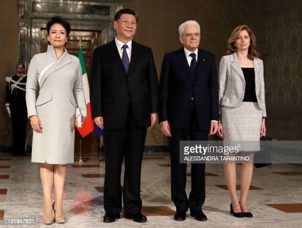 Italian President Sergio Mattarella Chinese President Xi Jinping his wife Peng Liyuan and Mattarella's daughter Laura Mattarella pose for a group...