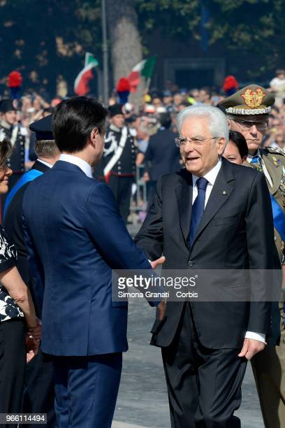 Italian President Sergio Mattarella greets the Autorities during the ceremony for the anniversary of the Italian Republic on June 2 2018 in Rome Italy