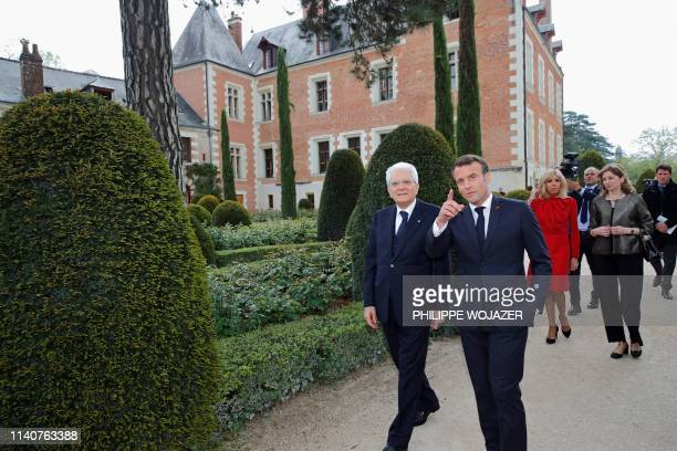 Italian President Sergio Mattarella , his daughter Laura Mattarella , French President Emmanuel Macron and his wife Brigitte Macron visit the Chateau...