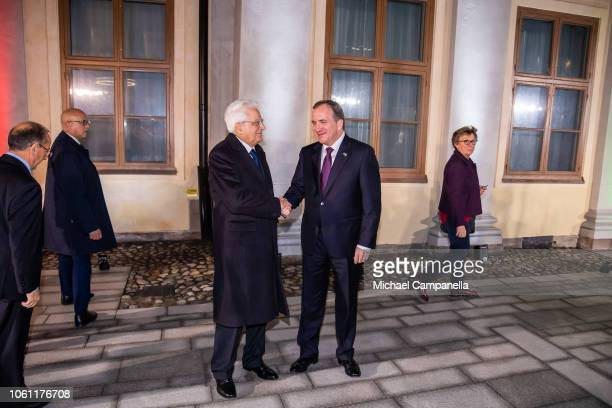 Italian President Sergio Mattarella is greeted by Swedish Prime Minister Stefan Lofven upon arriving at the Adelcrantz palace for a short meeting on...