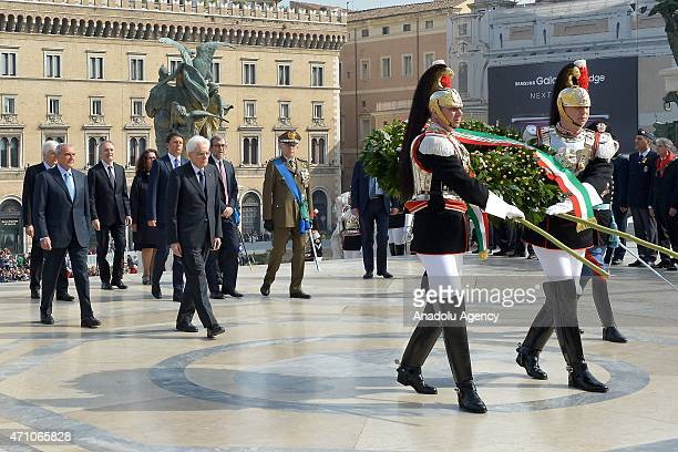 Italian President Sergio Mattarella is seen before placing wreath on Altare della Patria in Rome on April 25 2015 during an official ceremony of the...
