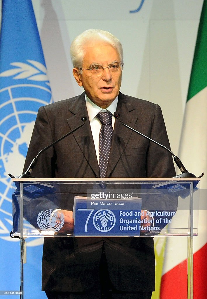 Italian President Sergio Mattarella makes a speech during the World Food Day - Expo 2015 on October 16, 2015 in Milan, Italy. The focus of the discussion during the World Food Day 2015, held today in Milan, was how to combat food waste in the world. Queen of Spain Letizia , ambassador of the FAO (United Nations Organization for Food and Agriculture), was among the participants.