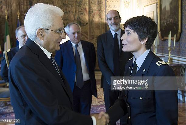Italian President Sergio Mattarella makes Italy's first woman astronaut Samantha Cristoforetti a Knight of the Grand Cross Monday in recognition of...