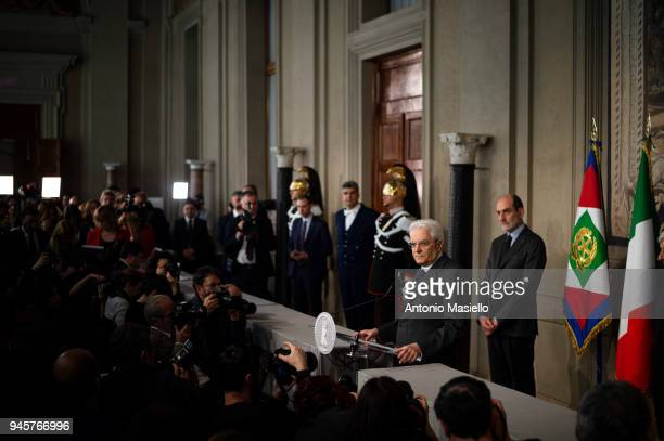 Italian President Sergio Mattarella speaks to journalists after a meeting with political parties on the second round of consultations for the...