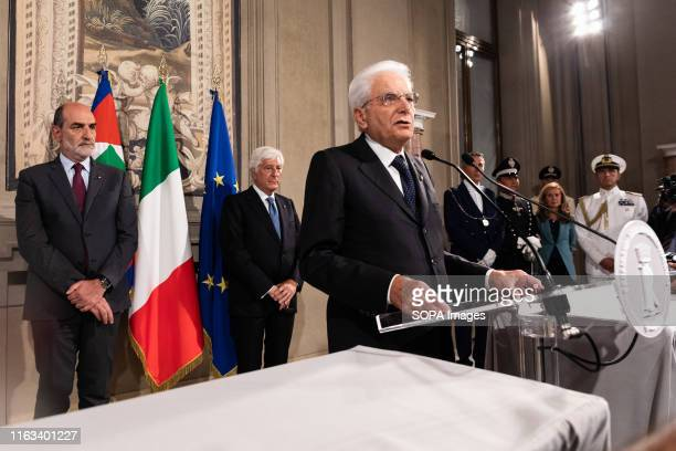 Italian President Sergio Mattarella speaks to the media after a meeting with political parties on the second day of consultations for the formation...