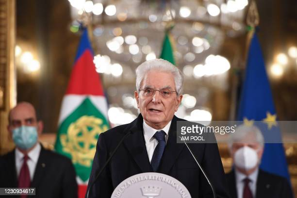 Italian President Sergio Mattarella speaks to the media after consultations with political parties on the formation of a new government at the...