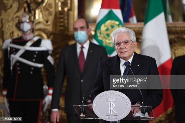 Italian President Sergio Mattarella talks to media, on the formation of a new government at Quirinale Palace, on February 02, 2021 in Rome, Italy....
