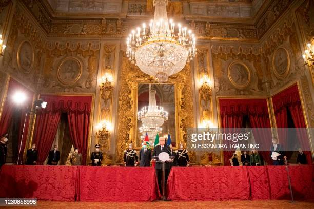 Italian President Sergio Mattarella talks to the media at the Quirinale presidential palace in Rome on January 29 after a meeting with the Italian...