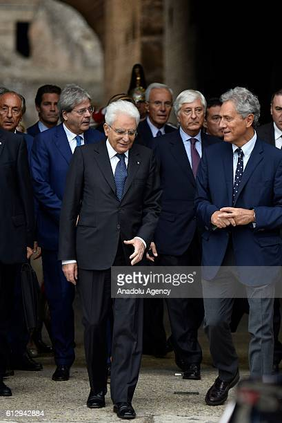 """Italian President Sergio Mattarella , visits the Colesseum on the occasion of the presentation of """"Rising From Destruction"""" exhibition that..."""
