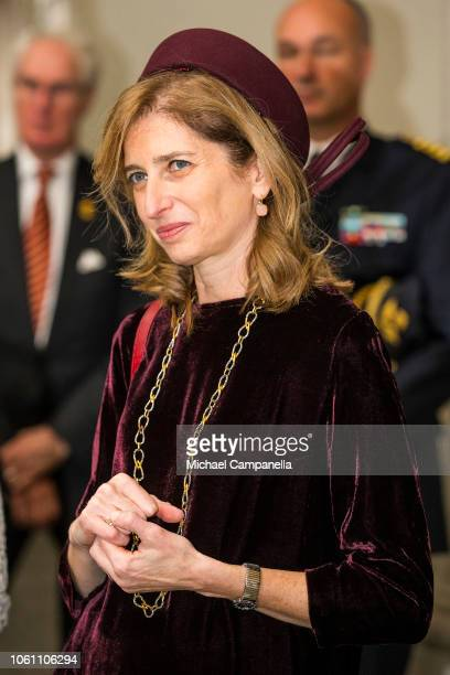 Italian President Sergio Mattarella's daughter Laura Mattarella visit sGustav IIIs Museum of Antiquities at the Stockholm Royal Palace on November 13...