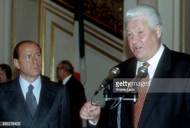 Italian President Silvio Berlusconi's official visit to Russia Pictured a meeting with the Russian President Boris Yeltsin Moscow Russia on 14th...