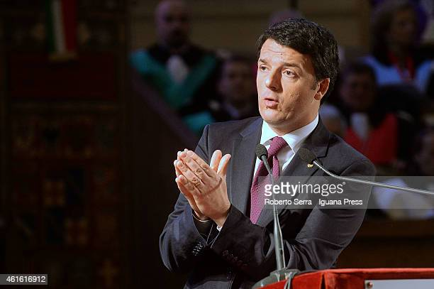 Italian Prime Miinister Matteo Renzi hold his speech during the inauguration of the academic year ceremony at the Aula Magna Santa Lucia on January...