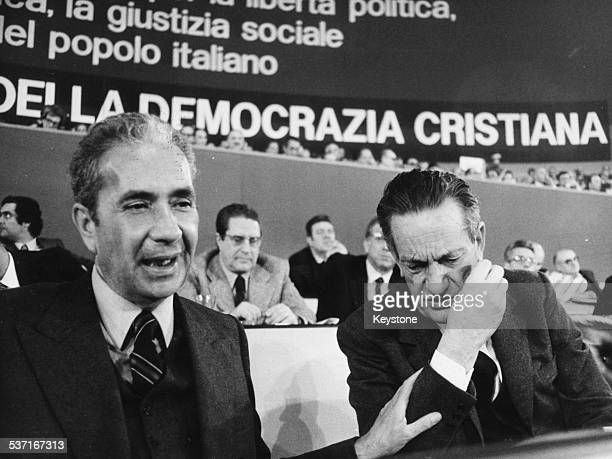 Italian Prime Minister Aldo Moro and Christian Democratic Secretary Benigno Zaccagnini attending the party congress at Sport Palace Rome March 1976
