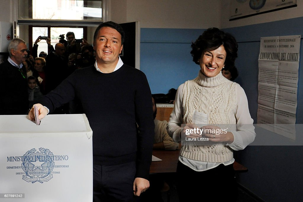 Italian Prime Minister and Democratic Party leader Matteo Renzi and his wife Agnese Renzi cast their vote for the constitutional referendum on December 4, 2016 in in Pontassieve near Florence, Italy. The result of the government referendum that will change the constitution, is considered crucial for the political future of Italy and for the personal future of its Prime Minister.