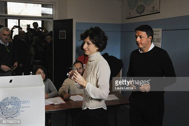 Italian Prime Minister and Democratic Party leader Matteo Renzi and his wife Agnese Renzi cast their vote for the constitutional referendum on...