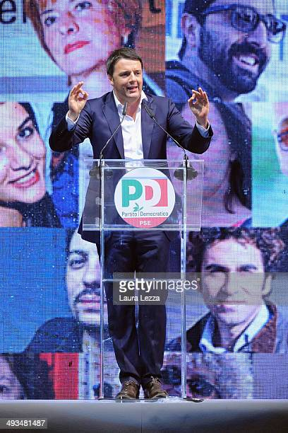 Italian Prime Minister and Democratic Party leader Matteo Renzi speaks at Piazza della Signoria during his last political rally before the European...