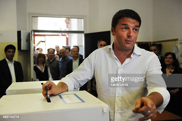 Italian Prime Minister and Democratic Party leader Matteo Renzi casts his vote in European Elections on May 25 2014 in Pontassieve Italy The leaders...
